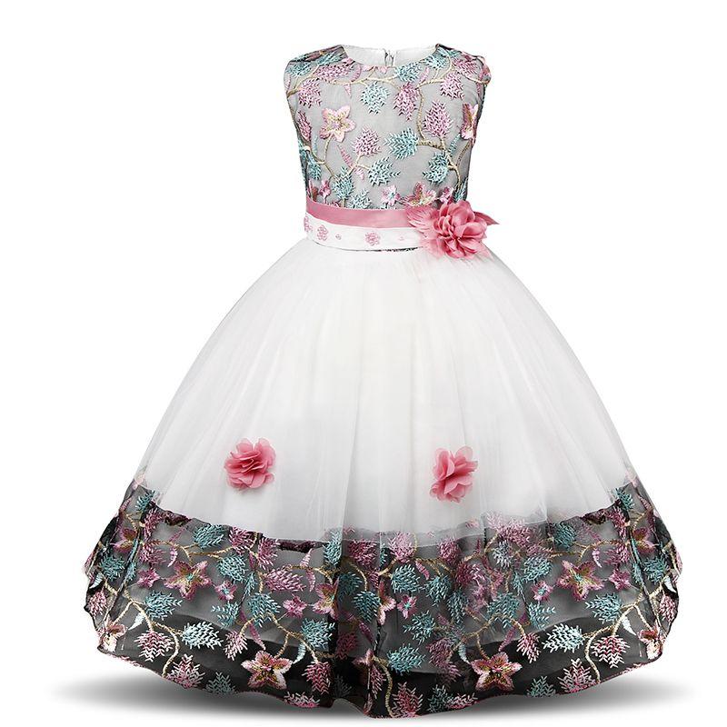 Fantaisie Bébé Filles Robe De Soirée De Mariage Fête D'anniversaire De Mariage Porter Des Enfants Costume De Broderie Robes Pour Filles Enfants Vêtements 4-10 T