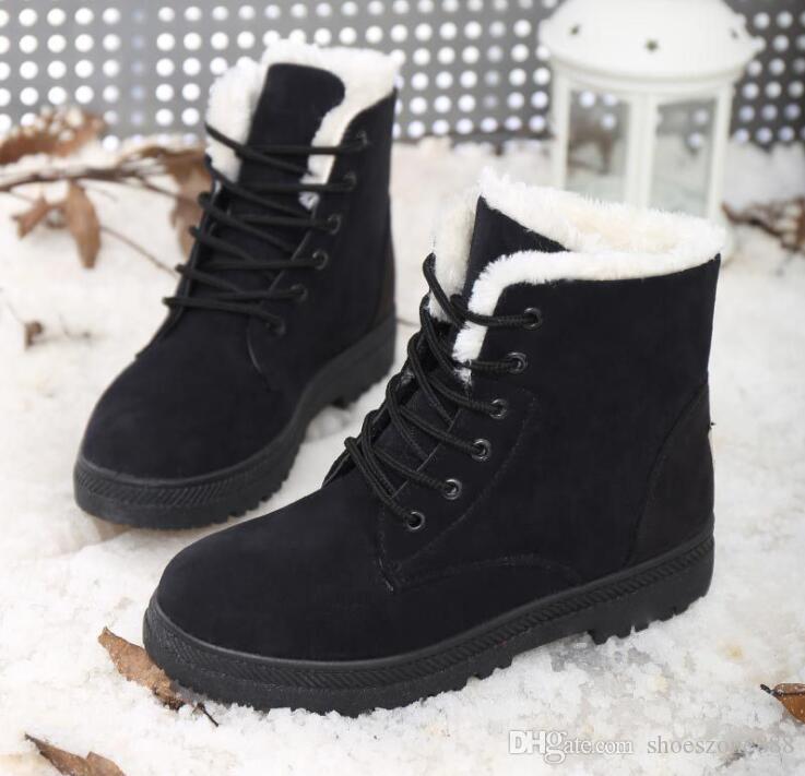 neue Ankunft warme Frau Schnee Stiefel Schuhe Winter Stiefel für Frauen Damen schnüren sich Stiefeletten Schuhe mit Pelz Plüsch ZX654
