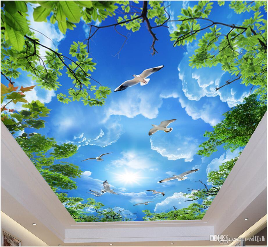 3d murais de teto papel de parede personalizado foto não-tecidos murais de parede Atmosférico belo céu azul nuvens brancas folhas verdes teto zenith mural
