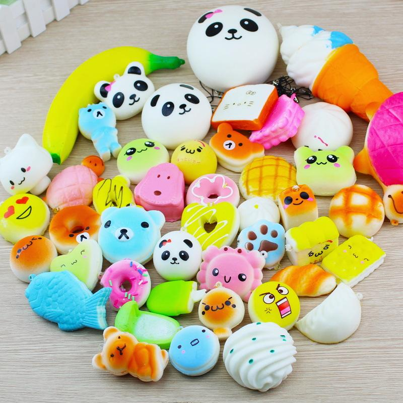 10/20/30 Pcs/Pack Squeeze Toy Slow Rising Adorable Bread Cake Donut Charm Pendant Squeeze Toy Stretchy Mobile Phone Strap