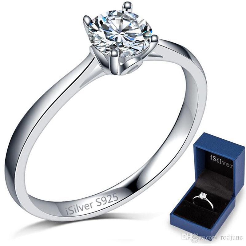 Sterling Silver 2.0 carati solitario anello fidanzamento matrimonio classico anniversario moglie regali San Valentino dichiarazione spedizione gratuita