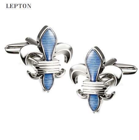 Hot Sale blue Fleur De Lis Cufflinks For Men Lepton Stainless Steel Top Quality Enamel Crusade Design Cuff links Relojes gemelos