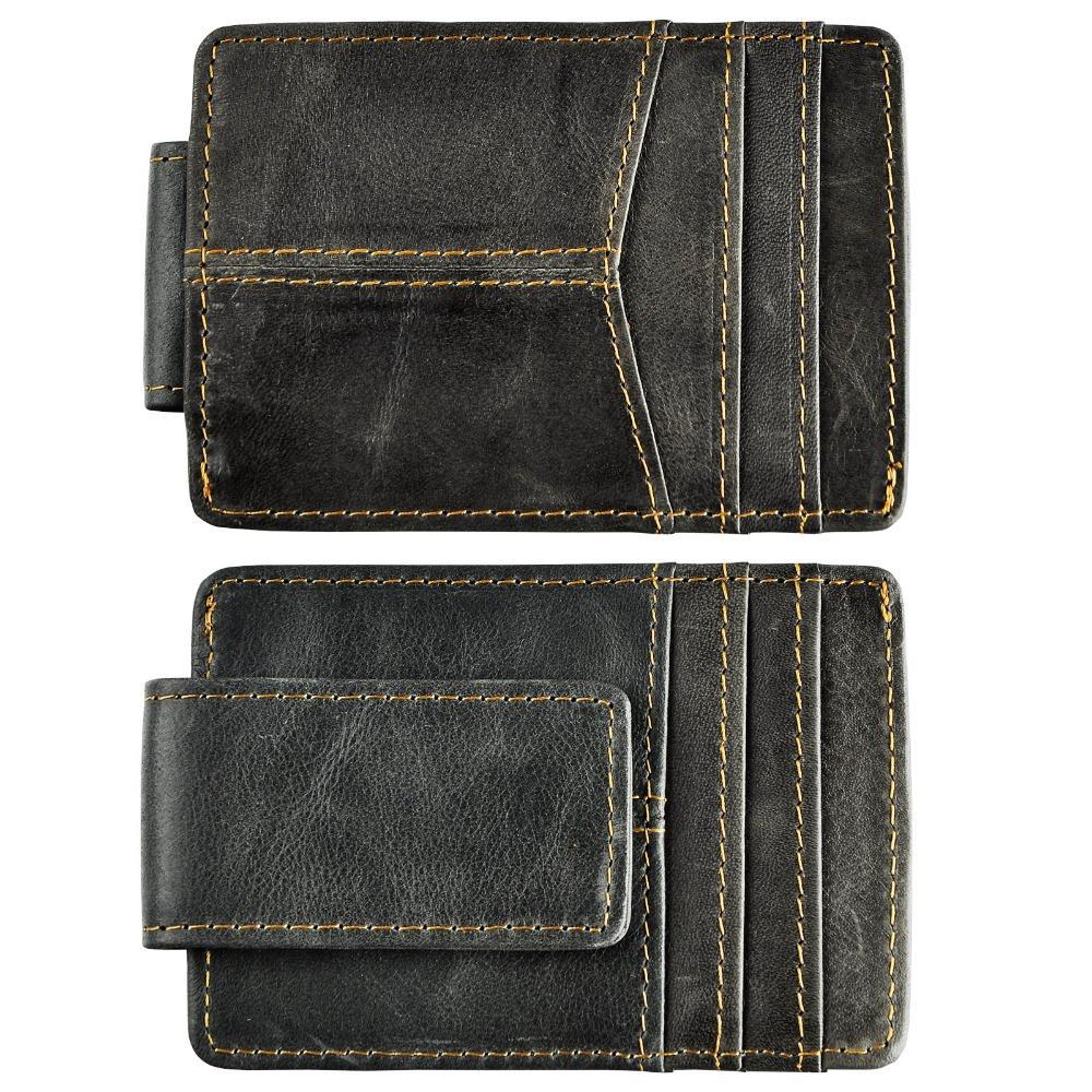 Мужской кожаный качества Мода Путешествовать Тонкий кошелек Передний карман Magnetic деньги клип Mini Card Case Кошелек для мужчин 1017G