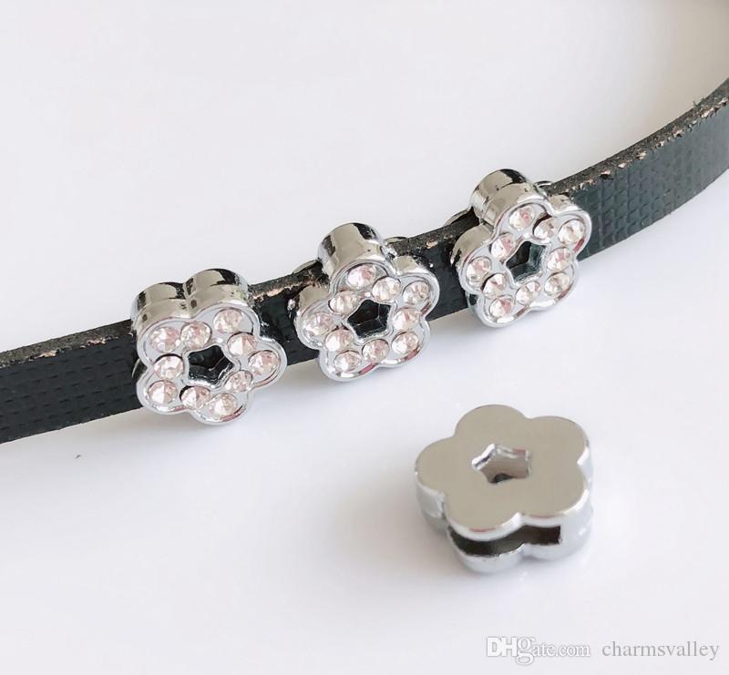 10PCs 8MM Silver Rhinestone Flower Slide Charms Beads Fit 8mm Pet Collar Belts Tags Keychain Bracelet Wristbands
