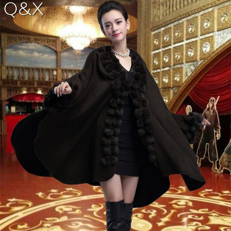 SC54 Womens Black Capes Poncho 2017 Winter Fur Ball Shawl Oversized Knitted Sweater Italian Long Cashmere Cardigan Coat