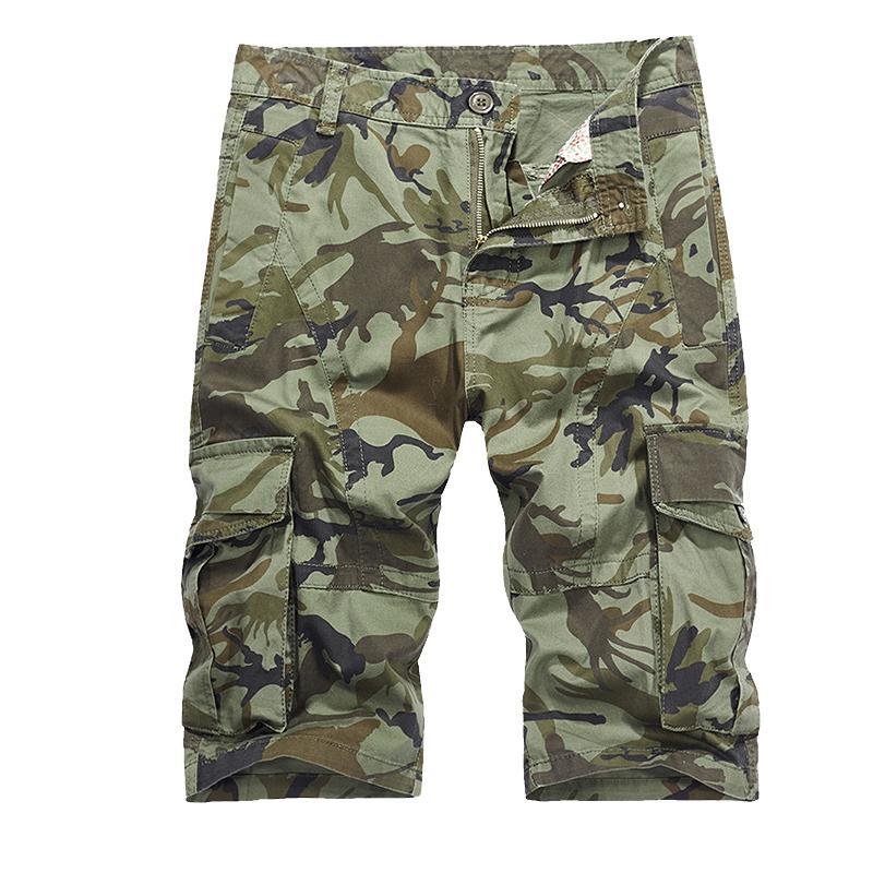 2018 nuevos hombres Cool camuflaje verano Venta caliente algodón Casual hombres pantalones cortos marca ropa cómodo Camo Cargo Shorts