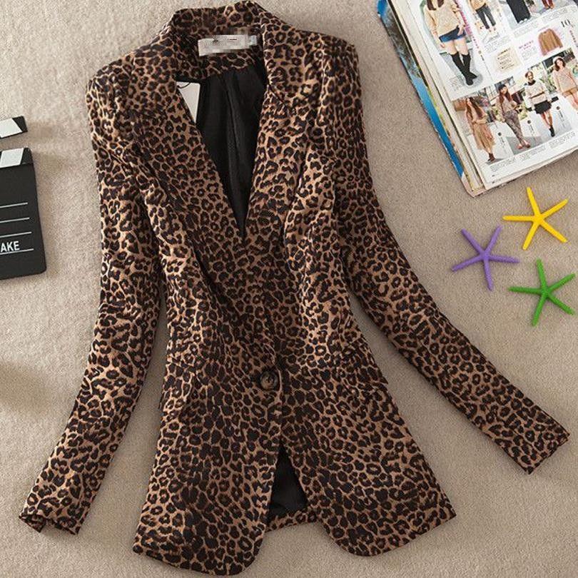 Retro Lady Long Sleeve Leopard Print Suit Jacket Slim Fit Single Breasted Blazer