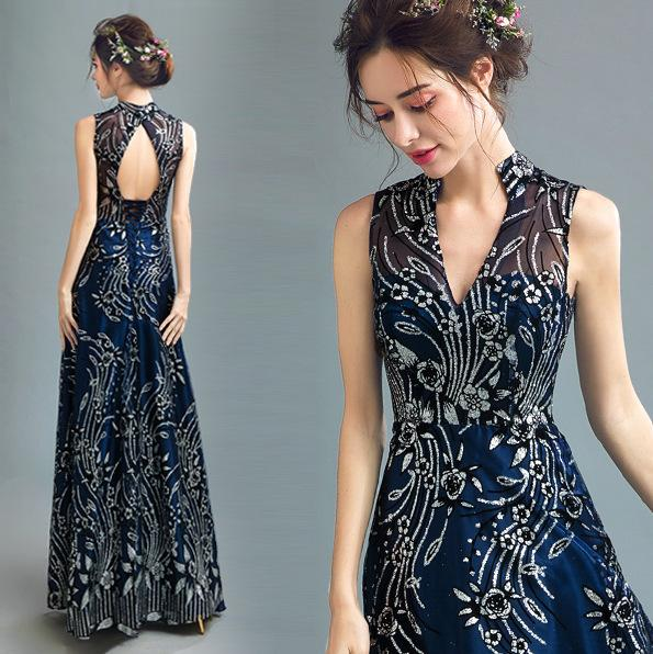 Compre Sfy221 Azul Vestidos Elegantes Vestido De Noche Largo Patrón De Vestido De Bronce Bling Vestidos Noche Vestidos De Fiesta Largos Abendkleider A