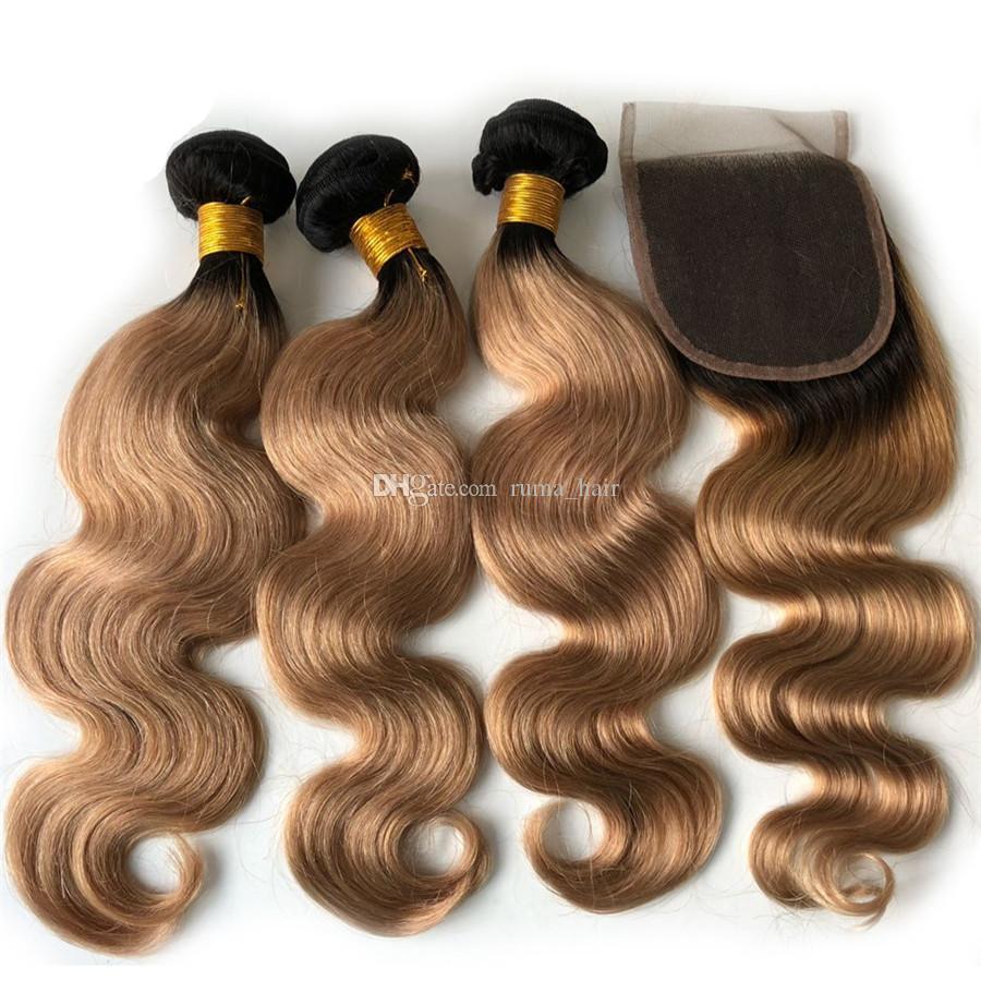 Kapatma ile Avrupa İnsan Saç Vücut Dalga Ombre 3 Paketler 1B Saçlı / 27 # Bal Sarışın Kapatma Altın Sarışın Koyu Kökler Saç örgüleri