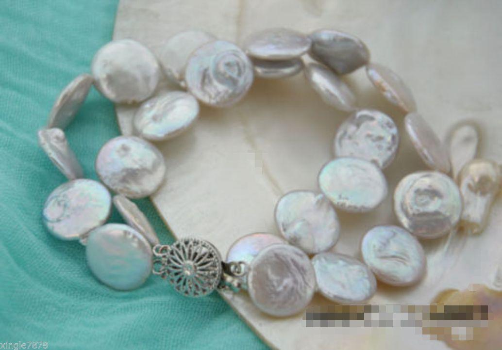 Bracciale 2 fili 12-13mm moneta bianca perla d'acqua dolce 7.5 ''
