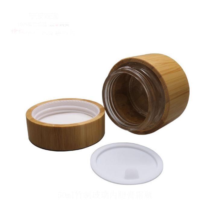 Vaso 30g 50g di vetro con bambù esterno Vuoto Crema Vasi imballaggio cosmetico Contenitori pentola con coperchio per la crema mani Container SN1511