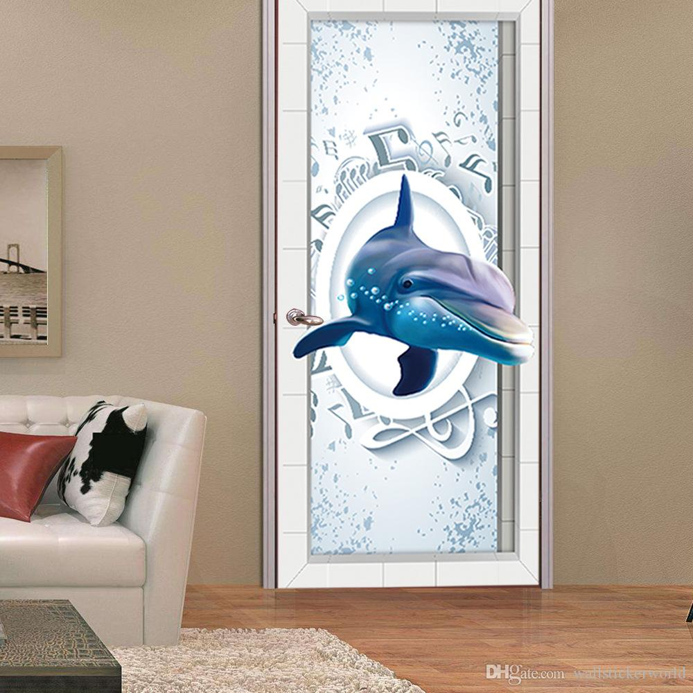 2Pcs/Set 3D Music Dolphin Wall Sticker Mural Quotes Bedroom Self-adhesive Door Refurbished Stickers Home Decor