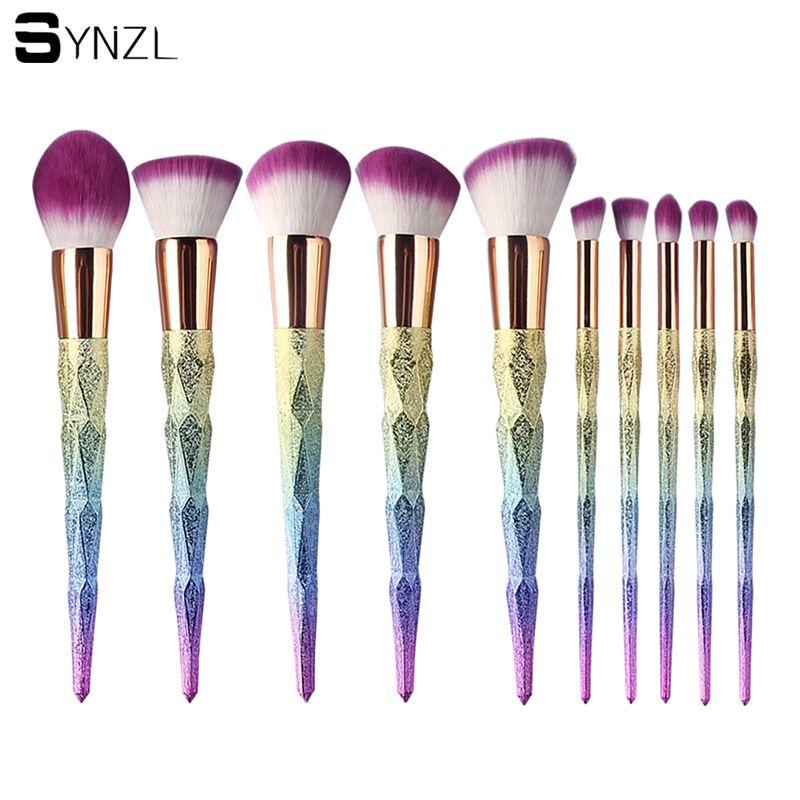 10 Pcs Profissional Rainbow Makeup Brush Set Diamante Lidar Com Maquiagem Blush Em Pó Mistura Liso Unicórnio Escova