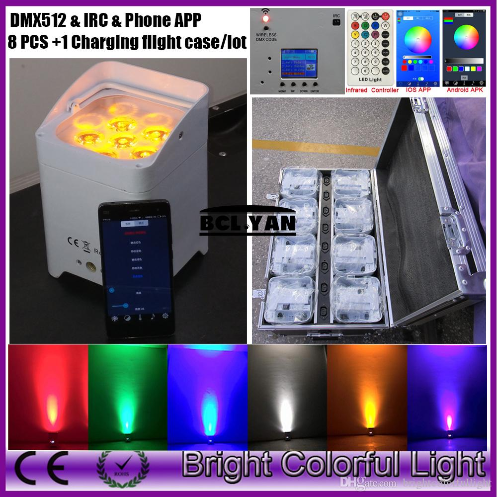High quality! easily operate led battery wireless dmx led par lights with WIFI support Android and APPLE IOS 6*18W 8XLOT + case