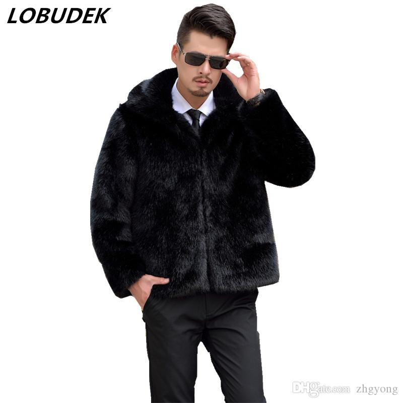 2018 Male Faux Fur Coat black brown gray loose casual outerwear Winter men's Warm overcoat outdoors fashion tide outfit clothing
