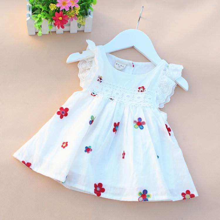 2016 verão de algodão do bebê recém-nascido vestido de impressão roupas de bebê menina voam manga infantil princesa vestido de festa linda flor da criança vestido de festa Y18102007