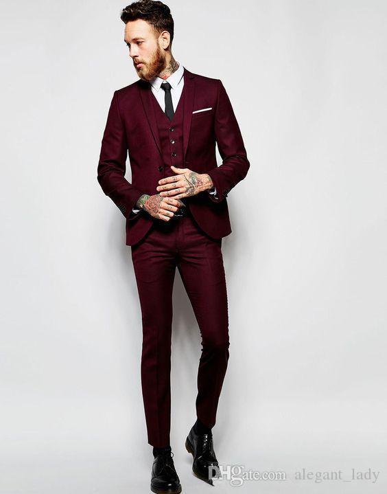 Vntage Burgund Hochzeit Smoking Slim Fit Anzüge für Männer Groomsmen Abendessen Anzug Drei Stücke Günstige Prom Formelle Anzüge (Jacke + Pants + Weste)
