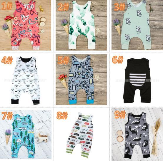 20 styles Baby Print Rompers Multi Designs babys Cactus Forest Road Newborn Infant Baby Girls Boys Summer Clothes Jumpsuit Playsuits 3-18M