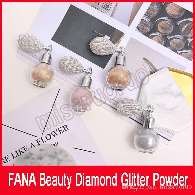 FANA Güzellik Elmas Glitter Toz Fana Sprey hava yastığı ile Güzellik Fosforlu Pırıltılı Yüz toz göz farı 4 renkler