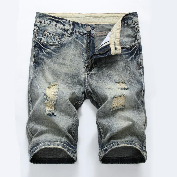 New Brand Fashion Designer Short Jean Men Slim Light Gray Color Wiring Hole Mens Jeans Skinny jeans 100% Cotton broek mannen D23