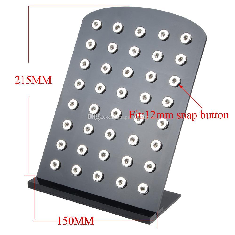 Noosa Chanks White Black Acrylic Snap Displays Displays Съемный набор Fit 40PCS Snap 18 мм Snaps Кнопка Стенд Ювелирных Изделий