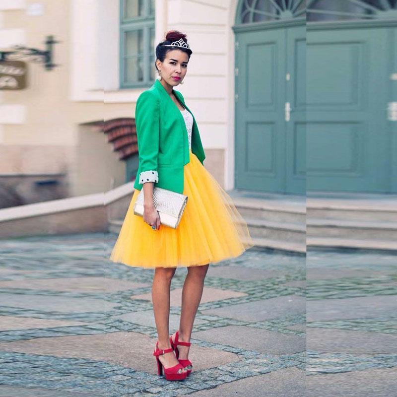 Jaune Saias Nouvelle Mode Femmes Tutu Mesh Jupes Courtes Jupes Des Femmes Élégant Au Genou Tutu Jupe Fait Sur Mesure