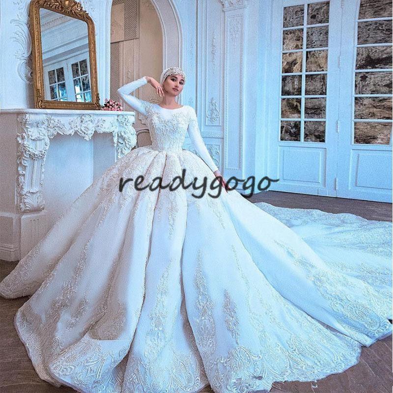 긴 소매 2018와 대성당 기차 공 가운 웨딩 드레스 럭셔리 레이스 Applique 무슬림 두바이 사우디 아라비아 Abaya Caftan 웨딩 드레스