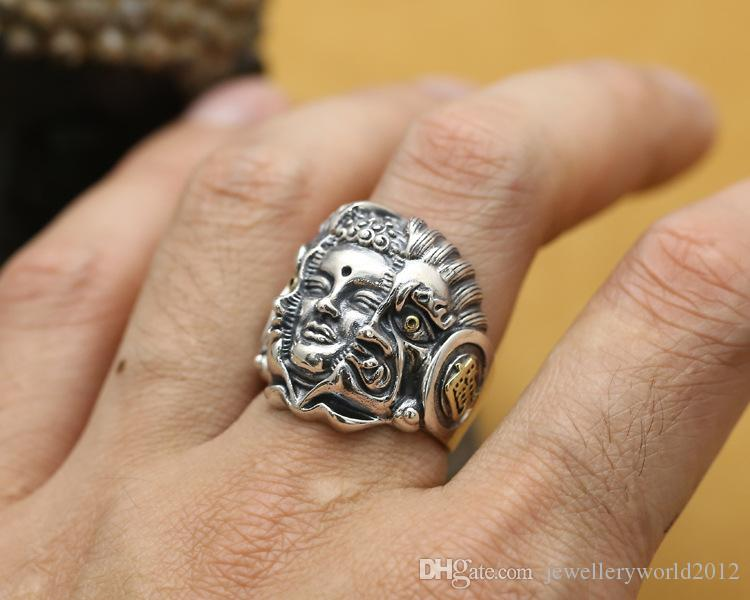 925 silver Buddha magic evil spirit and out of domineering male style ring thai silver restoring ancient ways ring