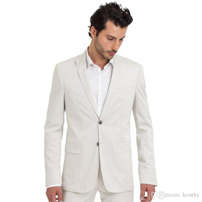 Custom Made 2018 Summer White Men Suits Wedding Suits For Men Bridegroom Party Groom Tuxedos Best Men Blazer Casual Blazer (Jacket+Pants)