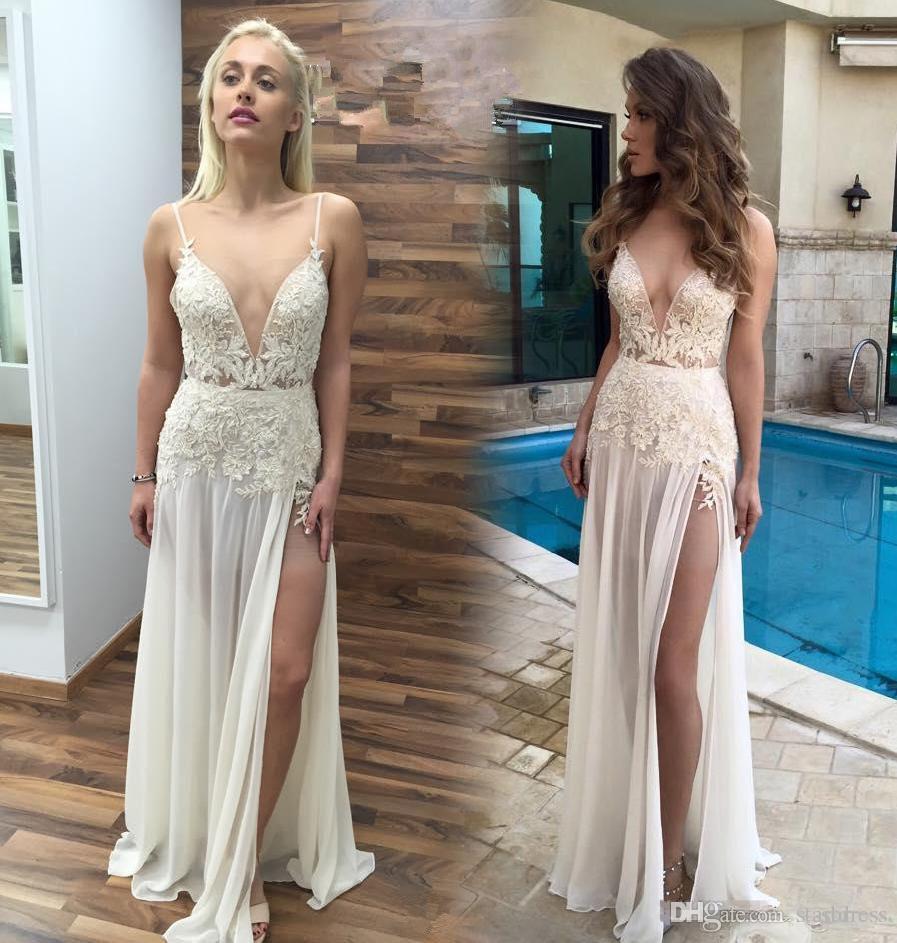 Unique bohemian Spaghetti Floral Beach Wedding Dresses Plugging High Slit Chiffon Summer Garden Berta Bridal Designer Backless Cheap Gowns