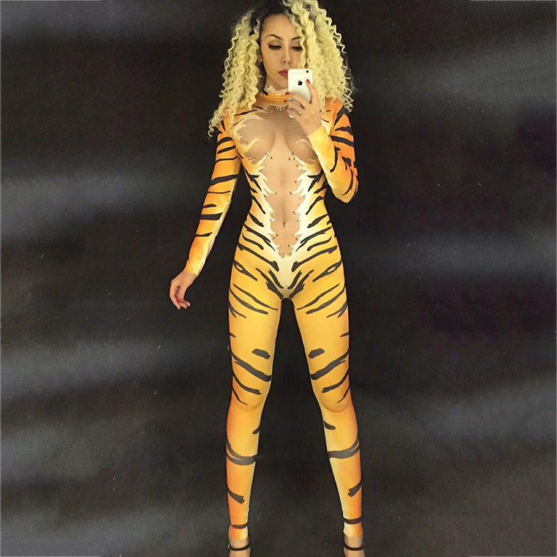 Tiger Leopard Crystals Outfit Singer Bodysuit Dancer Nightclub Cosplay Performance Elastic Pole Dance Sexy Women Jumpsuit DJ176