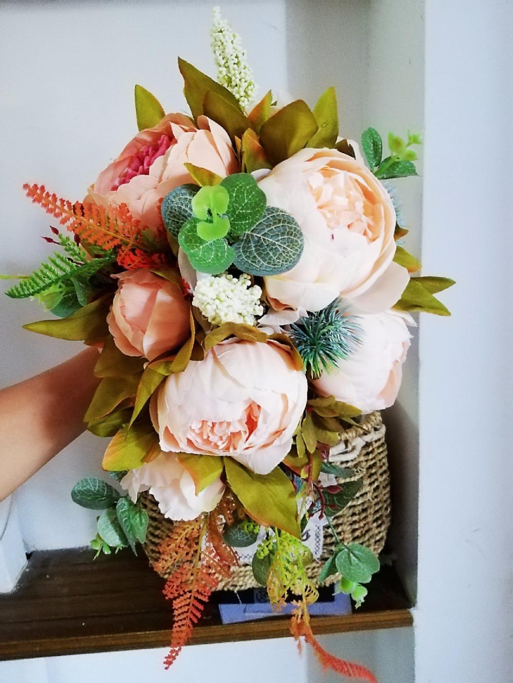 새로운 아름다운 핑크 웨딩 부케 모든 수제 신부의 꽃 인공 수국 피 오니 로즈 나비 브로치 부케