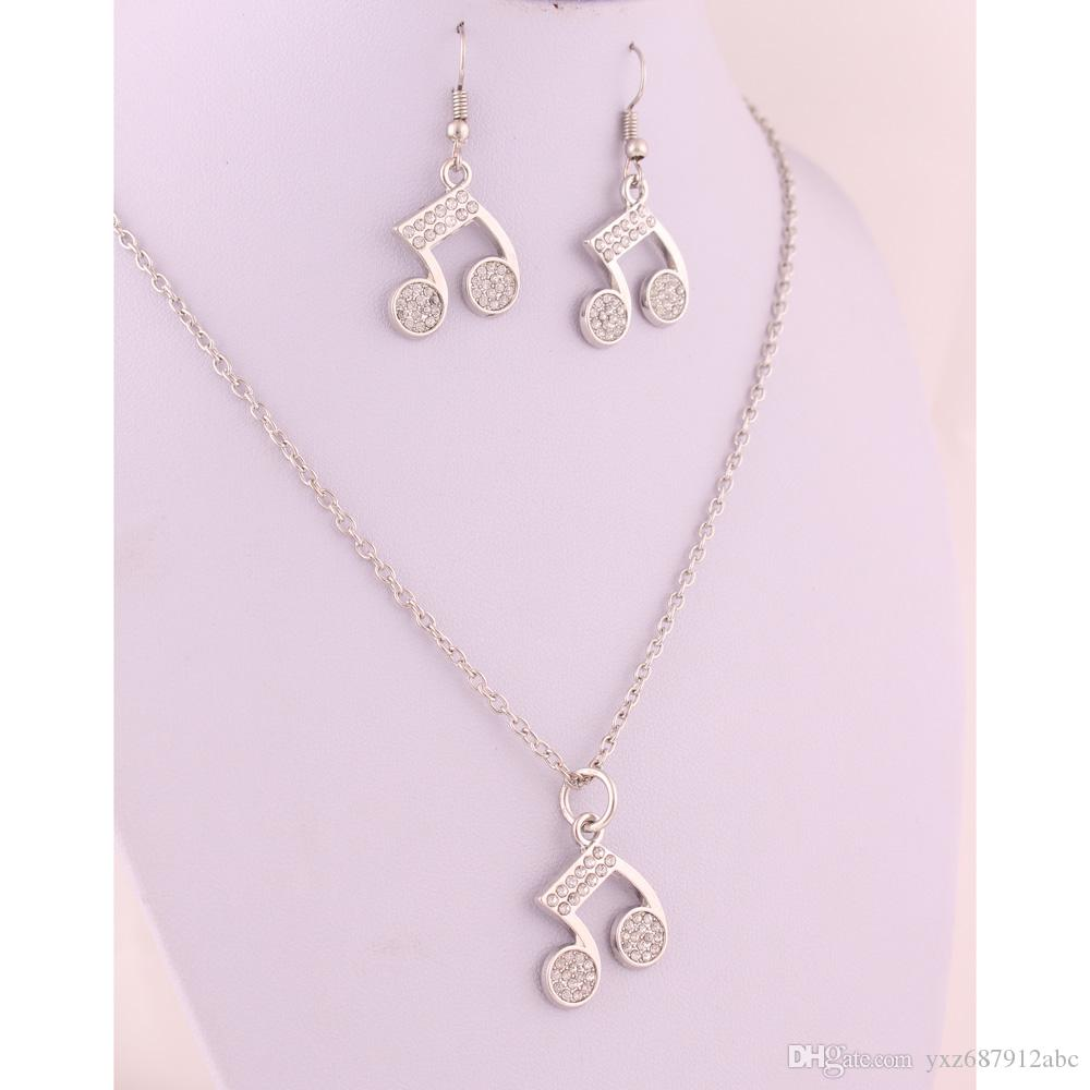 Hot Earrings And Necklace Music Musical Note Symbols Studded With Shiny Clear Crystal Charm Pendent Jewelry Set