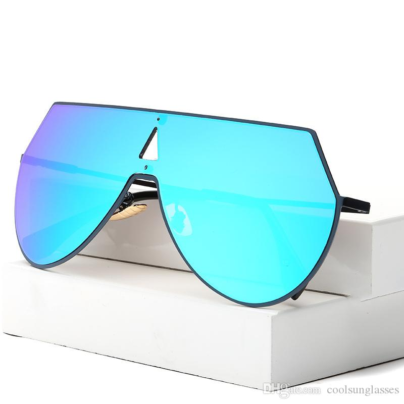 جديد المتضخم ساحة نظارات المرأة مصمم العلامة التجارية الكبيرة عدسة واحدة مان الوردي الأوروبية والأمريكية الرجعية نظارات شمسية ماركة واحدة