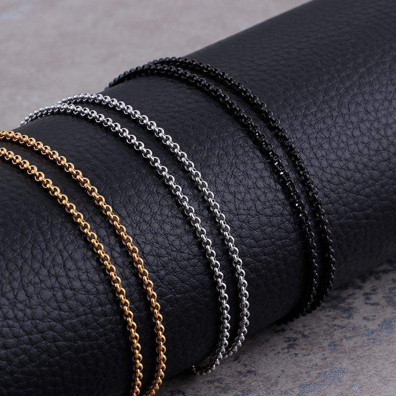 2mm Runde Kreuz Ketten Halsketten Edelstahl Gold / Silber / Schwarz Halsreifen Für Männer Frauen Großhandel Schmuck