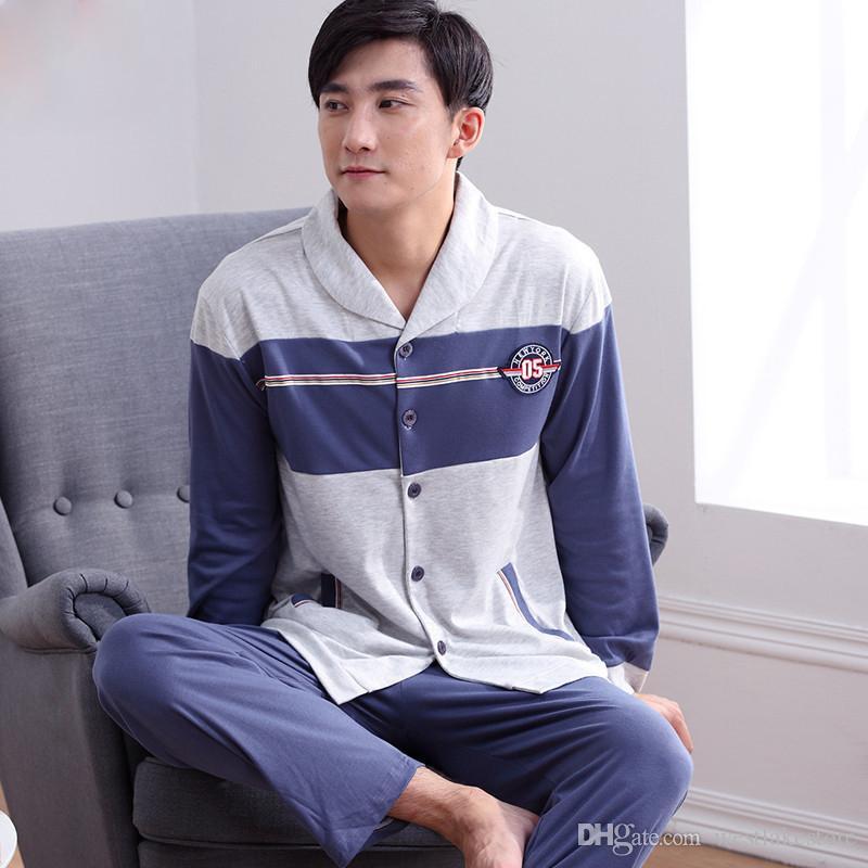 Pijama de hombre Primavera Otoño Manga larga Ropa de dormir Cárdigan a cuadros de algodón Pijamas Hombres Salón Conjuntos de pijama Más Tamaño 5XL Sueño