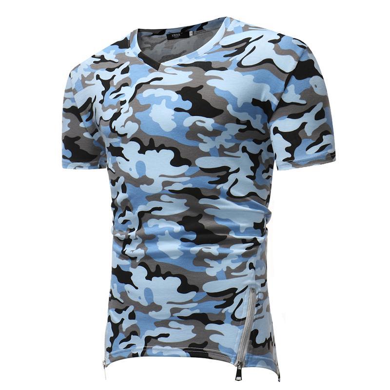 2018 dos homens novos casuais de manga curta T-shirt Lado zíper hem design camo padrão fino Com Decote Em V tecido Elástico t-shirt dos homens tamanho grande