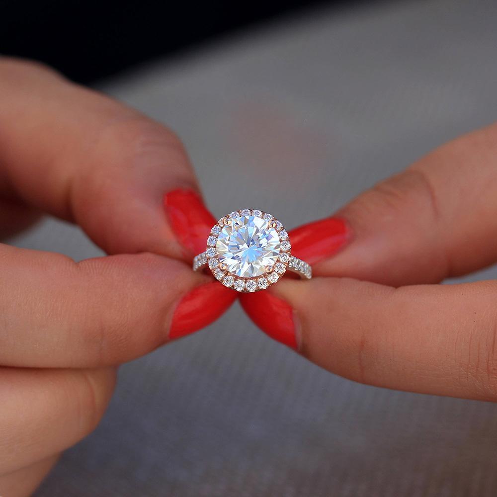 3.5Carat ct 9.5mm Round Cut Engagement&Wedding Moissanite Diamond Ring Double Halo Ring Genuine 14K 585 White Gold for Women S923