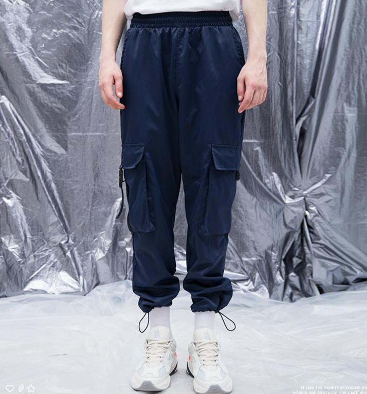 Buckle Straps Ankle-length Cargo Track Pants Multi-Pockets Sweatpants Tapered Fit Hidden Drawstring Jogger Pants