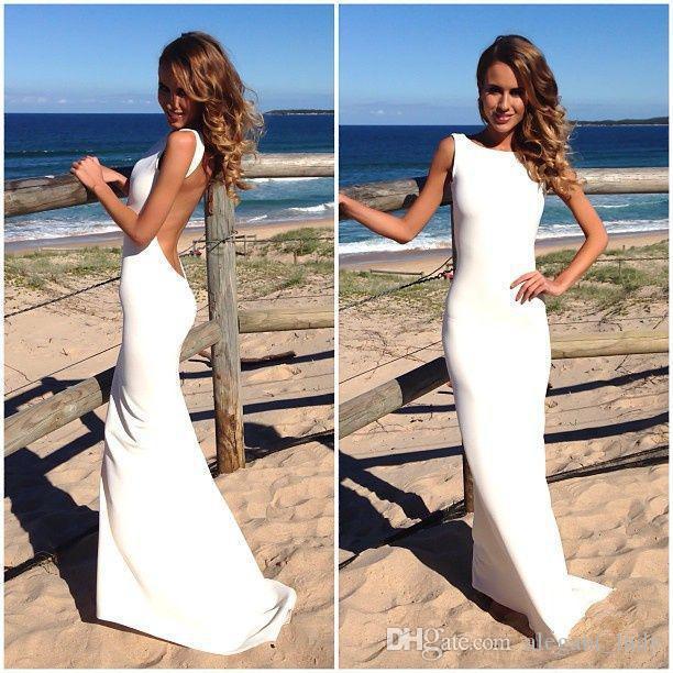 Hot Simple Stain Beach Holiday Robes De Mariée 2018 Jewel Neck Pleine Longueur Dos Nu Bord De Mer Pays Jardin Robe De Mariage Pas Cher