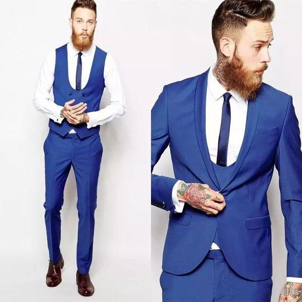2019 أنيق زفاف العريس البدلات الرسمية الدعاوى الأزرق يتأهل رفقاء العريس أفضل رجل prom الدعاوى (سترة + سروال + التعادل + سترة) زائد الحجم