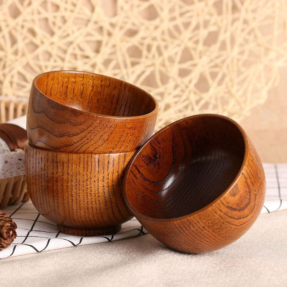 Chic Natual Wood Round Salad Bowl Kitchen Handmade Children Fruit Rice Bowl