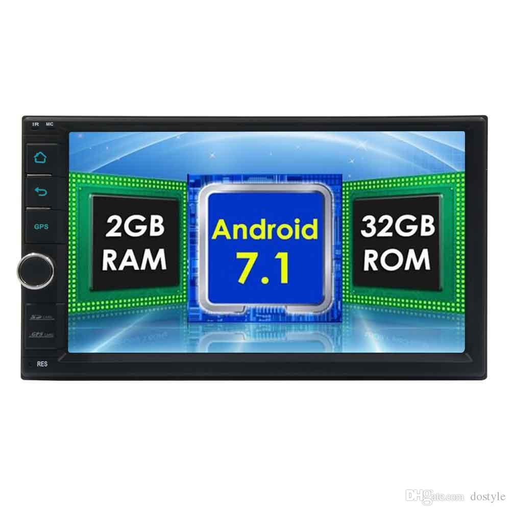 7 '' Android 7.1 Sistema estéreo del coche Unidad principal de 2GB + 32G OCTA Core Double Din 1024 * 600 Pantalla táctil en el tablero Radio Auto GPS Navegación Wifi