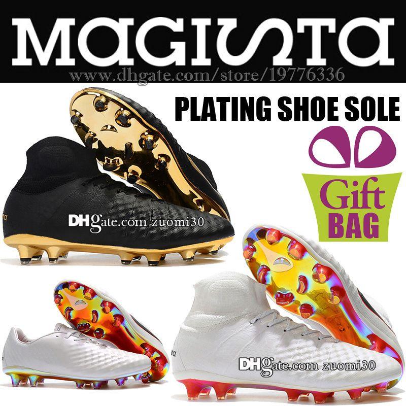 High Ankle New Soccer Boots Magista Obra II Elite FG Soccer Shoes White Black Gold Football Shoes Socks Magista ACC Soccer Cleats For Men