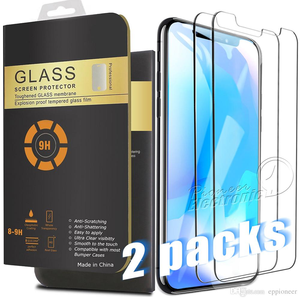 2 Packs For 2019 NEW Iphone 11 PRO MAX XR XS MAX 8 7 PLUS X Screen Protector Tempered Glass For Samsung S8 0.26mm 2.5D Rounded Edge