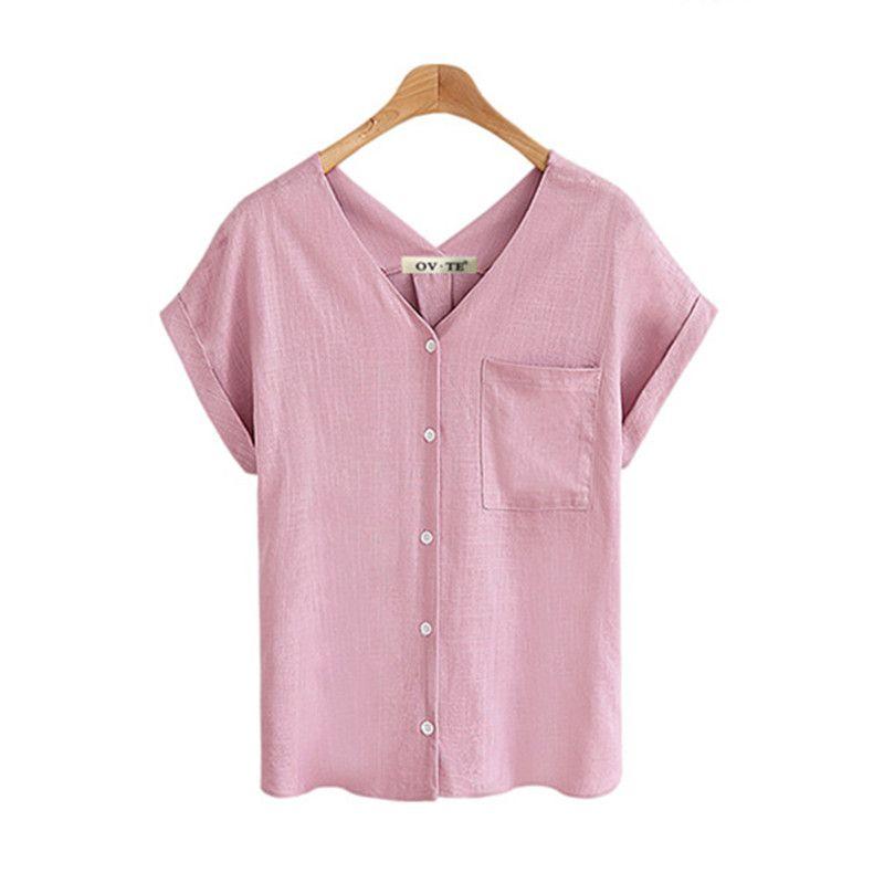 Yaz V Yaka Kadın Gömlek Pamuk Keten Kadın Rahat Üst Pembe Beyaz Mavi Haki Bayanlar Şifon Bluz Cepler Giyim Artı Boyutu