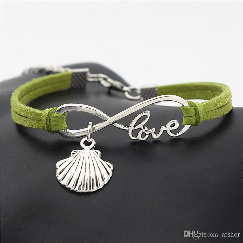 Trendy Natural Stone Infinity Love Shell Pendant Bracelets Bangles Vintage Charm Green Leather Rope Chain Jewelry For Women Men Friend Gifts