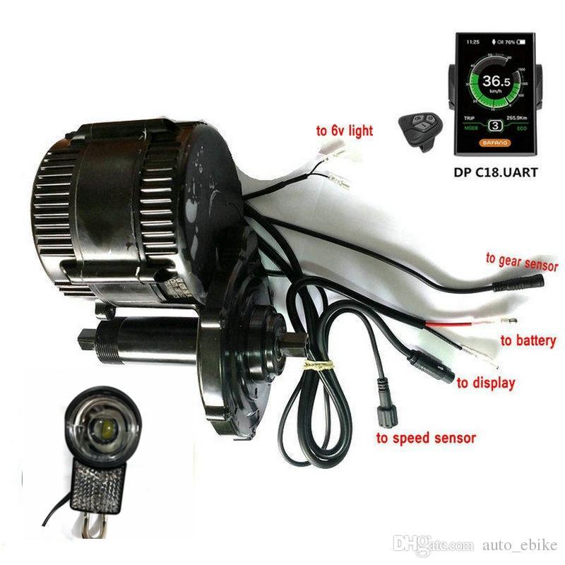 48V750W 새로운 버전 Bafang BBS02B 미드 키트 모터 색상 표시 기어 모터 경량 센서 커넥터 6v 램프 포함 키트