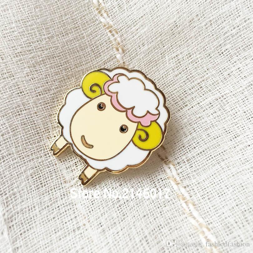 50pcs Factory Custom Made Cute Alpaca Lapel Pin Badge Hard Enamel Sheep Pins Metal Craft Gift Ram Lovely Animal Goat Brooch