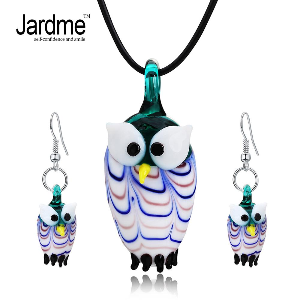 Jardme Jewelry Sets Murano Glass Inspiration Leather Rope Lampwork Pendant Earrings Jewelry Sets For Women